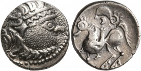 CELTIC, Middle Danube. Uncertain tribe. 2nd-1st centuries BC. Drachm (Silver, 14 mm, 2.25 g, 1 h), 'Kapostal' type. Celticized laureate head of Zeus t...