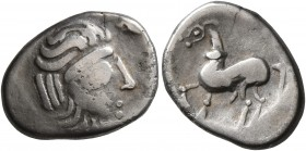 CELTIC, Middle Danube. Uncertain tribe. 2nd-1st centuries BC. Drachm (Silver, 16 mm, 2.83 g, 10 h), 'Kapostal' type. Celticized laureate head of Zeus ...