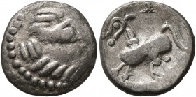 CELTIC, Middle Danube. Uncertain tribe. 2nd-1st centuries BC. Drachm (Silver, 14 mm, 2.00 g, 4 h), 'Kapostal' type. Celticized laureate head of Zeus t...