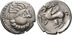 CELTIC, Middle Danube. Uncertain tribe. 2nd-1st centuries BC. Drachm (Silver, 15 mm, 2.85 g, 1 h), 'Kapostal' type. Celticized laureate head of Zeus t...