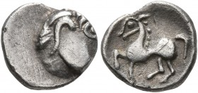 CELTIC, Middle Danube. Uncertain tribe. 2nd-1st centuries BC. Obol (Silver, 10 mm, 0.80 g, 2 h), 'Kapostaler Kleingeld'' type. Celticized head to righ...