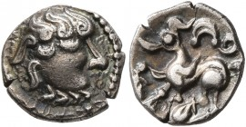CELTIC, Middle Danube. Uncertain tribe. 2nd-1st centuries BC. Obol (Silver, 10 mm, 0.72 g, 11 h), 'Kapostal' type. Celticized head of Zeus to right. R...