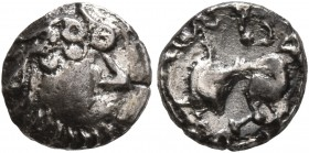 CELTIC, Middle Danube. Uncertain tribe. 2nd-1st centuries BC. 'Obol' (Silver, 9 mm, 0.72 g, 2 h), 'Kapostal' type. Celticized head of Zeus to right. R...