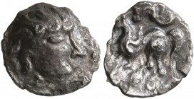 CELTIC, Middle Danube. Uncertain tribe. 2nd-1st centuries BC. Obol (Silver, 9 mm, 0.52 g), 'Kapostal' type. Celticized, bearded head of Zeus to right....