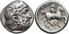 CELTIC, Lower Danube. Uncertain tribe. 3rd century BC. Tetradrachm (Silver, 25 mm, 13.83 g, 12 h), imitating an issue of Philip II of Macedon from Amp...