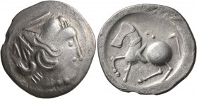 CELTIC, Lower Danube. Uncertain tribe. Circa 2nd century BC. Tetradrachm (Silver, 25 mm, 7.16 g, 9 h), 'Sattelkopfpferd' type. Celticized head to righ...
