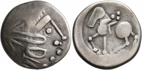 CELTIC, Lower Danube. Uncertain tribe. Circa 2nd century BC. Tetradrachm (Silver, 21 mm, 7.17 g, 8 h), 'Sattelkopfpferd' type. Celticized head to righ...