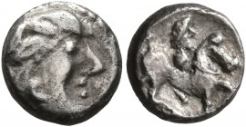 CELTIC, Middle Danube. Uncertain tribe. 2nd century BC. 'Obol' (Silver, 8 mm, 0.82 g, 4 h), 'Kopf mit strähnigen Haaren' type. Celticized male head to...
