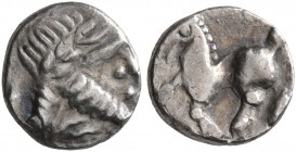 CELTIC, Lower Danube. Uncertain tribe. Circa 2nd-1st centuries BC. 'Obol' (Silver, 8 mm, 0.32 g, 4 h). Celticized laureate head of Zeus to right. Rev....