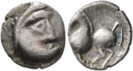 CELTIC, Lower Danube. Uncertain tribe. Circa 2nd-1st centuries BC. 'Obol' (Silver, 9 mm, 0.52 g, 1 h). Celticized male head to right. Rev. Celticized ...