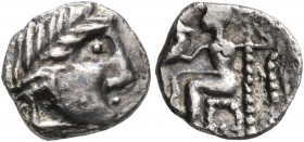 CELTIC, Lower Danube. Uncertain tribe. Circa 2nd century BC. Obol (Silver, 10 mm, 0.75 g, 6 h), imitating Alexander III or Philip III of Macedon. Celt...