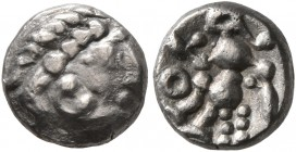 CELTIC, Middle Danube. Uncertain tribe. 2nd century BC. 'Obol' (Silver, 8 mm, 0.75 g, 7 h), imitating Alexander III or Philip III of Macedon. Celticiz...