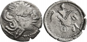 CELTIC, Lower Danube. Geto-Dacians. Denarius (Silver, 18 mm, 2.57 g, 4 h), imitating Rome. Head of Roma to right, wearing winged helmet. Rev. Horseman...