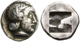 GAUL. Massalia. Circa 500-475 BC. Hemiobol (Silver, 8 mm, 0.66 g), Milesian standard. Bearded male head to right, wearing taenia. Rev. Rough incuse sq...