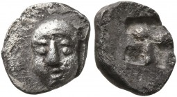 GAUL. Massalia. Circa 500-475 BC. Hemiobol (Silver, 9 mm, 0.55 g), Milesian standard. Facing male head, wearing taenia. Rev. Rough incuse square. Auri...