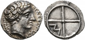 GAUL. Massalia. Circa 410-380 BC. Obol (Silver, 11 mm, 0.69 g). MAΣΣAΛIΩT-AN Horned head of Lakydon to right. Rev. Wheel of four spokes; M in one quar...