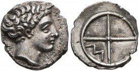 GAUL. Massalia. Circa 410-380 BC. Obol (Silver, 10 mm, 0.66 g). MAΣΣAΛIΩTA-N Horned head of Lakydon to right. Rev. Wheel of four spokes; M in one quar...