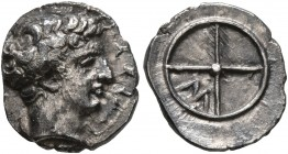 GAUL. Massalia. Circa 410-380 BC. Obol (Silver, 10 mm, 0.80 g). MAΣΣAΛIΩ Horned head of Lakydon to right. Rev. Wheel of four spokes; M in one quarter....