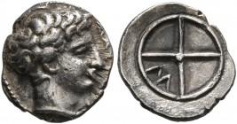 GAUL. Massalia. Circa 410-380 BC. Obol (Silver, 10 mm, 0.78 g). MAΣΣAΛIΩ Horned head of Lakydon to right. Rev. Wheel of four spokes; M in one quarter....