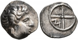 GAUL. Massalia. 380-336 BC. Obol (Silver, 10 mm, 0.78 g). Horned head of Lakydon to right. Rev. Wheel of four spokes; M in one quarter. Chevillon & Li...