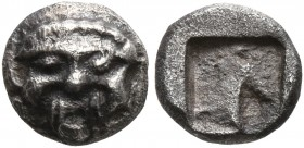 GAUL. Uncertain. Circa 500-460 BC. Hemiobol (Silver, 7 mm, 0.55 g), Graeco-Provincial series. Facing gorgoneion with protruding tongue. Rev. Incuse sq...