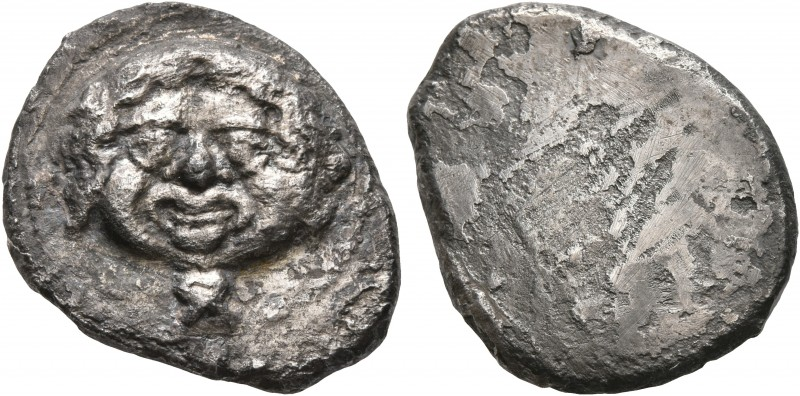 ETRURIA. Populonia. Circa 425-400 BC. 10 Asses (Silver, 22 mm, 7.28 g). Diademed...
