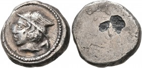 ETRURIA. Populonia. 4th century BC. 5 Asses (Subaeratus, 15 mm, 3.91 g). Head of Turms to left, wearing winged petasos; to right, Λ (mark of value). R...