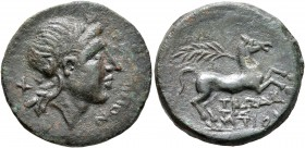 APULIA. Salapia. Circa 225-210 BC. AE (Bronze, 21 mm, 5.22 g, 10 h), Trodantios, magistrate. [ΣAΛAΠ]INΩN Laureate head of Apollo to right, with quiver...