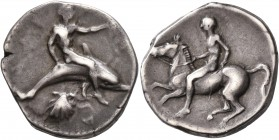 CALABRIA. Tarentum. Circa 430-425 BC. Didrachm or Nomos (Silver, 23 mm, 7.72 g, 4 h). TAPAΣ Youthful oikist, nude, riding dolphin to right, his left a...