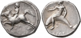 CALABRIA. Tarentum. Circa 405-400 BC. Didrachm or Nomos (Silver, 21 mm, 7.63 g, 4 h). Nude youth on horse galloping to left, holding bridles with both...
