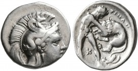 CALABRIA. Tarentum. Circa 380-325 BC. Diobol (Silver, 12 mm, 1.22 g, 3 h). Head of Athena to right, wearing crested Corinthian helmet adorned with a h...