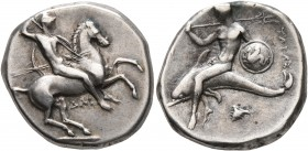 CALABRIA. Tarentum. Circa 302-290 BC. Didrachm or Nomos (Silver, 22 mm, 7.87 g, 7 h), Dai... and Phi..., magistrates. Nude rider on horse galloping to...
