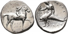 CALABRIA. Tarentum. Circa 280 BC. Didrachm or Nomos (Silver, 21 mm, 7.89 g, 7 h), Sa..., Arethon and Cas..., magistrates. Nude youth riding horse walk...