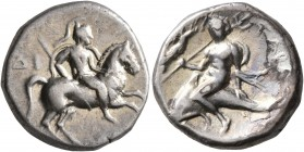 CALABRIA. Tarentum. Circa 272-240 BC. Didrachm or Nomos (Silver, 19 mm, 6.44 g, 3 h), Di... and Apollonios, magistrates. Nude rider on horse galloping...