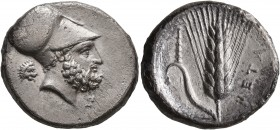 LUCANIA. Metapontion. Circa 340-330 BC. Didrachm or Nomos (Silver, 22 mm, 7.67 g, 6 h). Bearded head of Leukippos to right, wearing Corinthian helmet;...