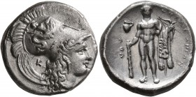 LUCANIA. Herakleia. Circa 330/25-281 BC. Didrachm or Nomos (Silver, 21 mm, 7.77 g, 4 h). [ՒHPAKΛHIΩN] Head of Athena to right, wearing Corinthian helm...