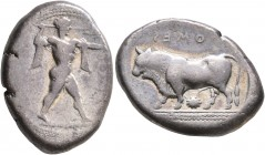 LUCANIA. Poseidonia. Circa 420-410 BC. Stater (Silver, 22 mm, 7.66 g, 2 h). [ ΠΟMES ] Poseidon striding to right, his left arm outstretched, brandishi...