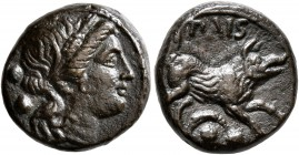 LUCANIA. Paestum (Poseidonia). Second Punic War, 218-201 BC. Sextans (Bronze, 15 mm, 3.57 g, 4 h). Head of Demeter to right, wearing wreath of grain e...