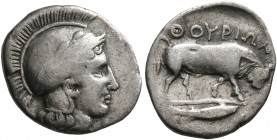 LUCANIA. Thourioi. Circa 443-400 BC. Triobol (Silver, 13 mm, 1.16 g, 7 h). Head of Athena to right, wearing laureate and crested Attic helmet. Rev. ΘO...