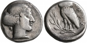 LUCANIA. Velia. Circa 465-440 BC. Drachm (Silver, 14 mm, 3.82 g, 3 h). Head of a nymph to right; behind, Π. Rev. YEΛH Owl standing left on olive branc...