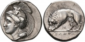 LUCANIA. Velia. Circa 334-300 BC. Didrachm or Nomos (Silver, 20 mm, 7.58 g, 7 h), Kleudoros Group. Head of Athena to left, wearing crested Phrygian he...