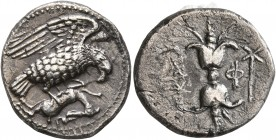 BRUTTIUM. Lokroi Epizephyrioi. Circa 400-350 BC. Didrachm or Nomos (Silver, 21 mm, 7.29 g, 4 h). Eagle standing right, wings spread, clutching dead ha...