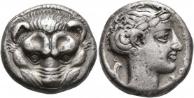 BRUTTIUM. Rhegion. Circa 420-415/0 BC. Tetradrachm (Silver, 23 mm, 17.11 g, 4 h). Facing head of a lion. Rev. ΡHΓINOΣ Laureate head of Apollo to right...