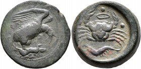 SICILY. Akragas. Circa 415-406 BC. Tetras or Trionkion (Bronze, 23 mm, 12.40 g, 12 h). AKPA Eagle standing right, wings spread, clutching dead hare he...
