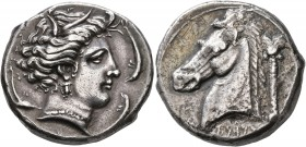 SICILY. Entella (?). Punic issues, circa 320/15-300 BC. Tetradrachm (Silver, 25 mm, 16.80 g, 11 h). Head of Tanit-Persephone to right, wearing wreath ...