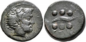 SICILY. Soloi. Circa 415-406 BC. Hemilitron or Hexonkion (Bronze, 20 mm, 6.00 g, 5 h). ΣΟΛΟΝΤΙΝΟΝ Bearded head of Herakles to right, wearing lion skin...