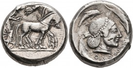 SICILY. Syracuse. Deinomenid Tyranny, 485-466 BC. Tetradrachm (Silver, 23 mm, 17.35 g, 10 h), circa 478-475. Charioteer driving quadriga walking to ri...