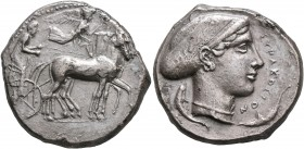 SICILY. Syracuse. Second Democracy, 466-405 BC. Tetradrachm (Silver, 27 mm, 17.22 g, 10 h), circa 430. Charioteer driving quadriga walking to right, h...
