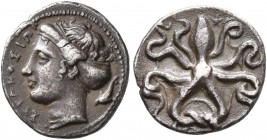 SICILY. Syracuse. Dionysios I, 405-367 BC. Litra (Silver, 11 mm, 0.77 g, 5 h), circa 405-400. ΣYPAKOΣIΩN Head of Arethusa to left, wearing pearl neckl...
