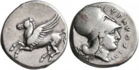 SICILY. Syracuse. Timoleon and the Third Democracy, 344-317 BC. Stater (Silver, 22 mm, 8.57 g, 9 h). Pegasos flying left. Rev. ΣYPAKOΣIΩN Head of Athe...